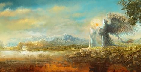Foto de um Anjo com uma luz na mão e uma alma à beira de um rio. Ao fundo há uma montanha.