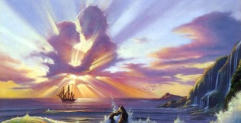 Imagem de um casal feito de nuvens com raios de sol por todo o lado.